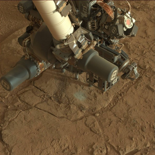 Close-up view of the drill in place on the bedrock. Click for larger version. Credit: NASA / JPL-Caltech
