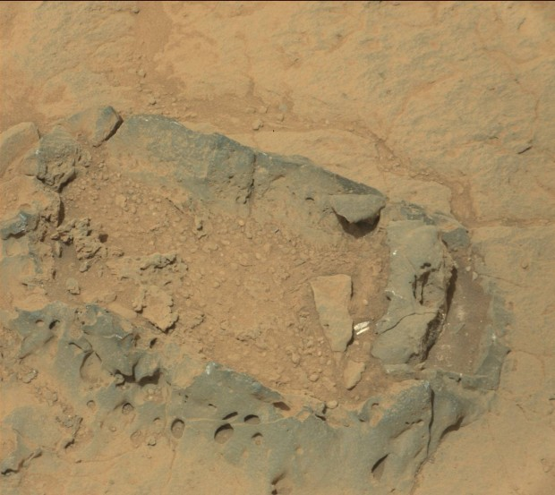 "Mastcam image of same ""bubble"" as above, from sol 308. Credit: NASA / JPL-Caltech"