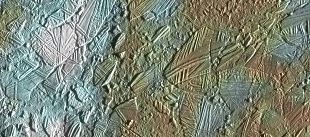"""Chaotic terrain"" on Europa. Scientist think that these regions lie directly over hydrothermal vents on the ocean floor. Image Credit: NASA/JPL-Caltech"