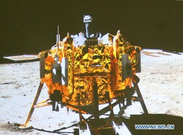 The Chang'e 3 lander, as photographed by the rover. Credit: CNTV/CCTV