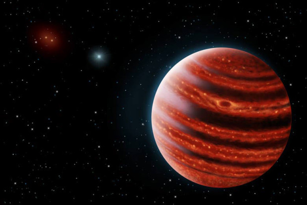 Artist's conception of the young Jupiter-like 51 Eridani b exoplanet, its atmosphere still glowing with heat from its formation. Image Credit: Danielle Futselaar/Franck Marchis