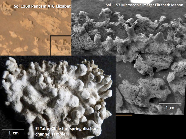 Microscopic Imager view of silica formations on Mars compared to ones from El Tatio in the Atacama Desert, Chile. Image Credit: NASA/JPL-Caltech/School of Earth and Space Exploration, Arizona State University/Elizabeth Mahon