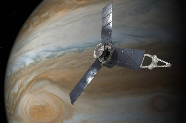 Artist's conception of Juno approaching Jupiter. Image Credit: NASA