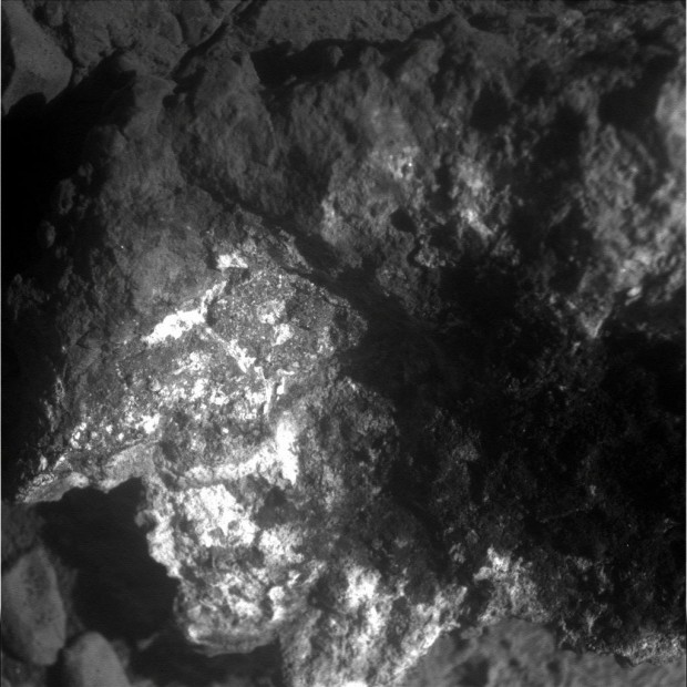 """Microscopic Imager (MI) closeup view of Pinnacle Island showing the whitish colouring around the edges and the darker appearing """"jelly"""" interior."""