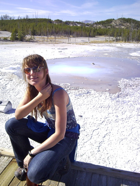 Lisa Kalteneggar at Yellowstone National Park. Photo Credit: Cornell University