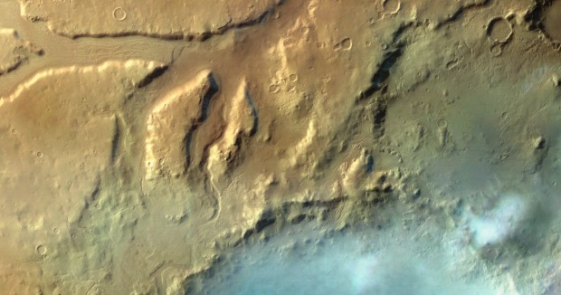 Clouds above Moreux crater in the Protonilus Mensae region. Click for larger version. Credit: ESA / G. Neukum (Freie Universitaet, Berlin, Germany) / Bill Dunford