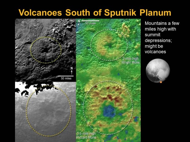 Slide from the DPS meeting showing possible ice volcanoes on Pluto. Image Credit: NASA/Johns Hopkins University Applied Physics Laboratory/Southwest Research Institute