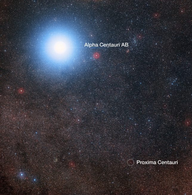 Image of the sky around the bright star pair Alpha Centauri AB, also showing the much fainter red dwarf star, Proxima Centauri. The picture was created from pictures forming part of the Digitized Sky Survey 2. The blue halo around Alpha Centauri AB is just an artifact of the photographic process; the star is actually pale yellow in color like the Sun. Image Credit: Digitized Sky Survey 2 Acknowledgement: Davide De Martin/Mahdi Zamani