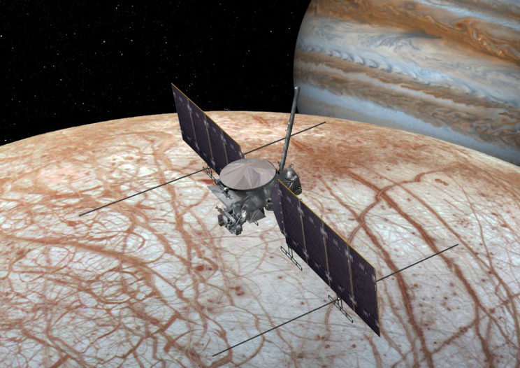 Artist's conception of the Europa Clipper spacecraft near Europa. Image Credit: NASA/JPL-Caltech