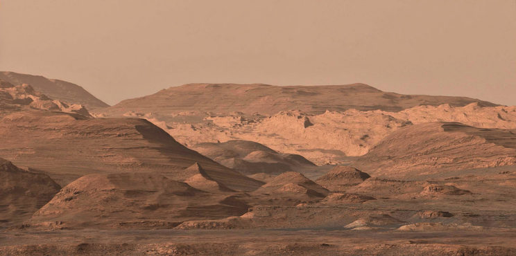 Moving on: after leaving Murray Buttes, Curiosity will continue towards the foothills of Mount Sharp, a region of more buttes, mesas and canyons. Panoramic image processing by Paul Hammond. Image Credit: NASA/JPL-Caltech/MSSS/Paul Hammond
