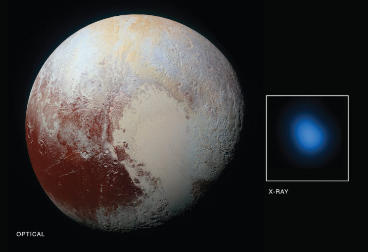 For the first time, x-rays have been detected around Pluto, as seen by Chandra (inset image). Image Credit: NASA/Johns Hopkins University Applied Physics Laboratory/Southwest Research Institute/Chandra X-Ray Center