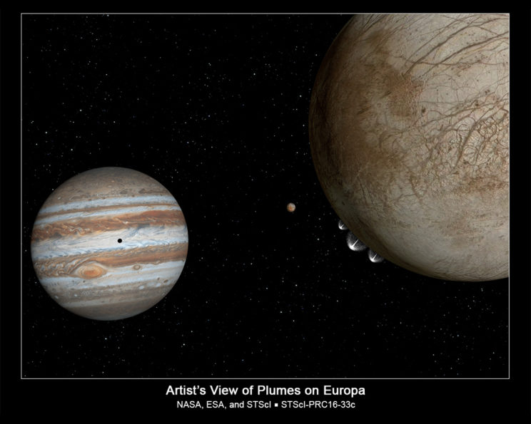 Artist's conception of the plumes on Europa. Image Credit: NASA/ESA/G. Bacon (STScI)