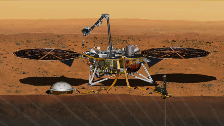 Artist's conception of InSight on the surface of Mars. Image Credit: NASA/JPL-Caltech