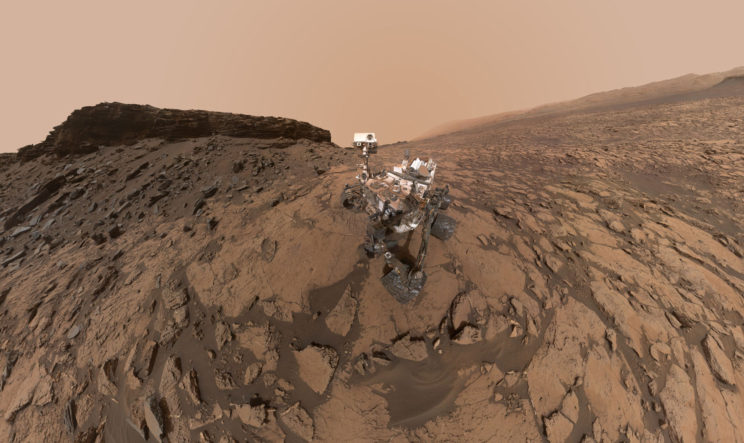 "A ""self-portrait"" of Curiosity at the Quela drilling location at the base of one of the buttes in Murray Buttes. Image Credit: NASA/JPL-Caltech/MSSS"