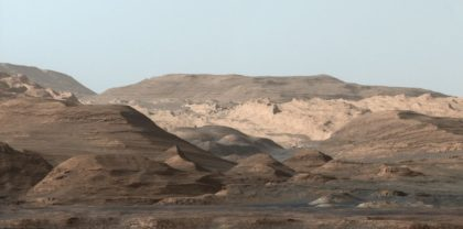 Up next in Curiosity's journey: stunning view (white-balanced) of the mesas and buttes in the foothills of Mount Sharp. Image Credit: NASA/JPL-Caltech/MSSS