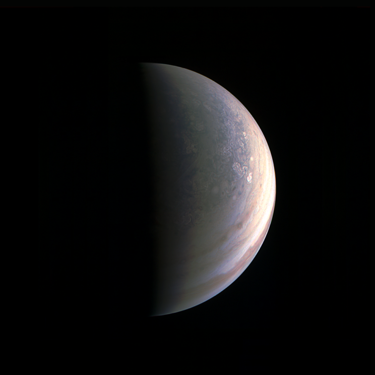 Jupiter's north pole, as seen by Juno during its flyby on Aug. 27, 2016. Photo Credit: NASA/JPL-Caltech/SwRI/MSSS