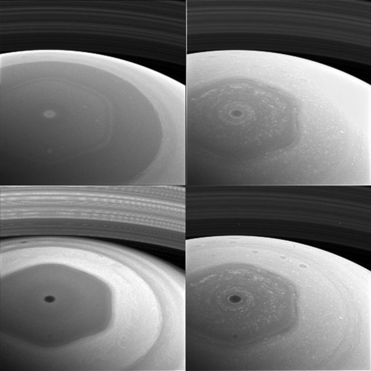 Collage showing Saturn's north polar hexagon through different filters. Clockwise from top left, the filters used are sensitive to violet (420 nanometers), red (648 nanometers), near-infrared (728 nanometers) and infrared (939 nanometers) light. The images were taken on Dec. 2, 2016. Image Credit: NASA/JPL-Caltech/Space Science Institute