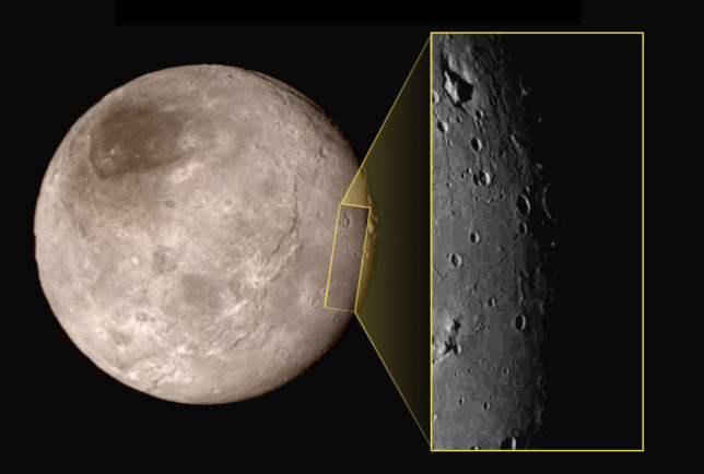 """One of the most unusual features on Charon is the """"mountain in a moat,"""" a large mountainous block sitting inside a depression in the surface (upper left of inset image). Image Credit: NASA/JHUAPL/SwRI"""