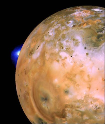 Voyager 1 view of the active volcano Loki, just one of many, on Jupiter's moon Io. These were the first active volcanoes ever seen beyond Earth. Io is the most volcanically active world in the Solar System. Photo Credit: NASA