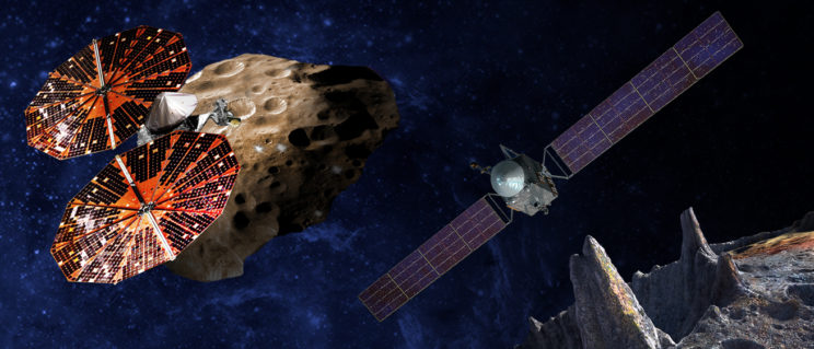 Artist's conception of the two new missions announced: Lucy, flying by the Trojan asteroid Eurybates, and Psyche, the first mission to the metal world 16 Psyche. Image Credit: SwRI/SSL/Peter Rubin
