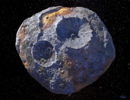 Another artist's conception of what the metal asteroid 16 Psyche might look like. Image Credit: Arizona State University