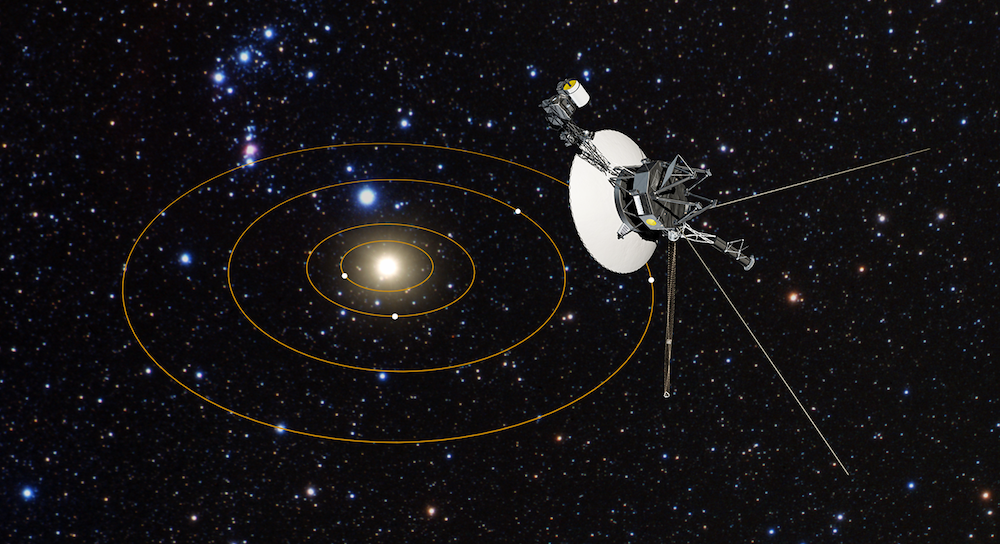 Artist's illustrationn of Voyager 1 looking back on the Solar System. Image Credit: NASA/ESA/G. Bacon (STScI)
