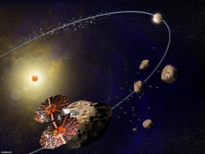 Graphic illustration of the Lucy spacecraft at the Trojan asteroids near Jupiter. Image Credit: SwRI