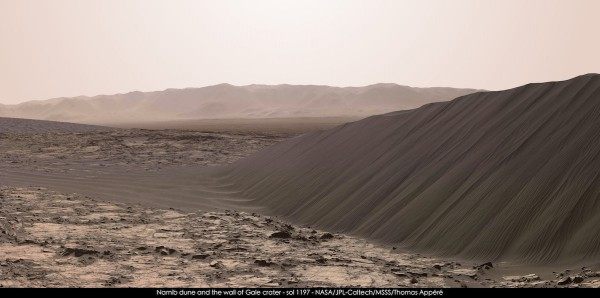 A stunning view of part of Namib Dune as seen by the Curiosity rover. Image Credit: NASA/JPl-Caltech/MSSS/Thomas Appéré