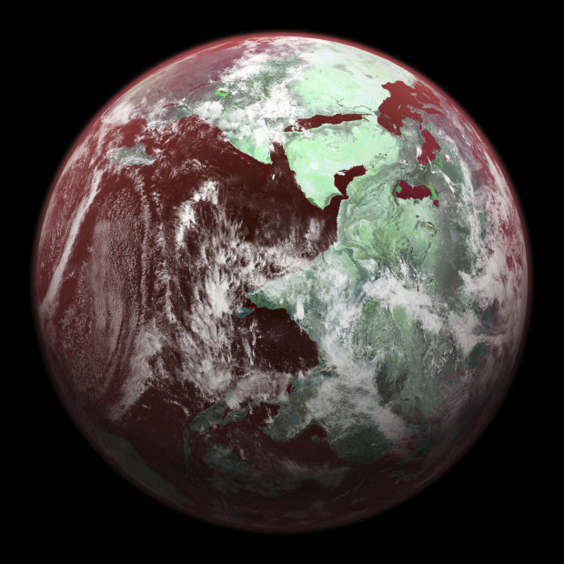 An example filtered view of Earth showing reddish highlights. The new technique could examine the coloring of possible life-forms on the surface of exoplanets. Image Credit: NASA