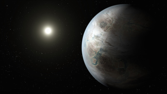 Artist's conception of Kepler-452b, the first near-Earth-sized exoplanet discovered orbiting in the habitable zone of a Sun-like star. Image Credit: NASA Ames/JPL-Caltech/T. Pyle