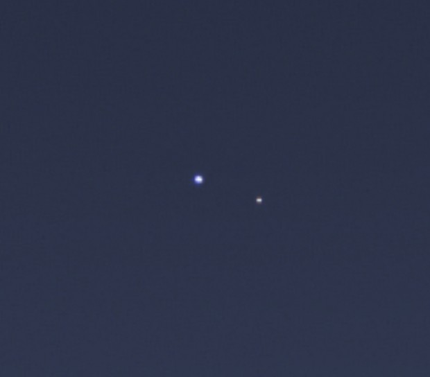 Close-up view, taken from the larger panorama, of the Earth and Moon as seen by Cassini. Photo Credit: NASA/JPL-Caltech/SSI