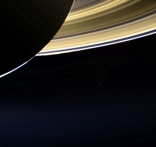 Earth as seen by Cassini on July 19, 2013 - the tiny blue speck in the distance below Saturn's rings in this view. Click for larger version. Credit: NASA / JPL-Caltech / SSI / Jason Major