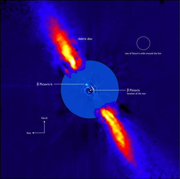 Composite image of the star Beta Pictoris and its planet Beta Pictoris b, as seen in near-infrared light from ESO's 3.6 meter telescope . Image Credit: ESO/A.-M. Lagrange et al