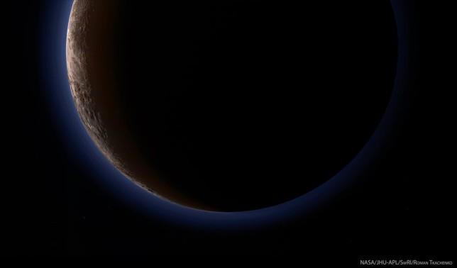 The hazy blue atmosphere of Pluto. @NASA/JPL/Roman Tkachenko