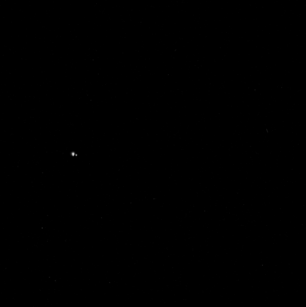 View of Earth and Moon from Mercury, as seen by the MESSENGER spacecraft on July 19, 2013. Click for larger version. Credit: NASA / Johns Hopkins University Applied Physics Laboratory / Carnegie Institution of Washington