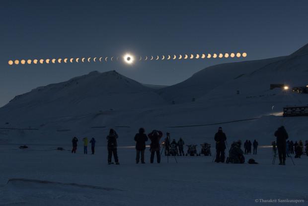 A total solar eclipse over Svalbard, Norway. Photo Credit: Thanakrit Santikunaporn