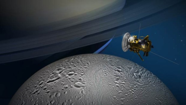 "Illustration of Cassini's ""E-20"" flyby of Enceladus, which will provide new, detailed views of the moon's north polar region. Image Credit: NASA/JPL-Caltech"