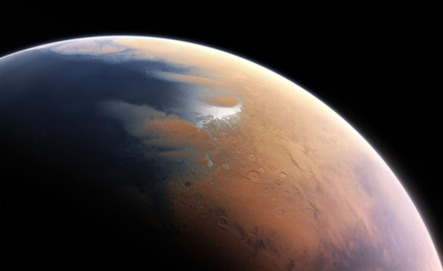 Mars' atmosphere is thin, dry, and cold now, but it used to be thicker and contained a lot more oxygen. Image Credit: ESO/M. Kornmesser