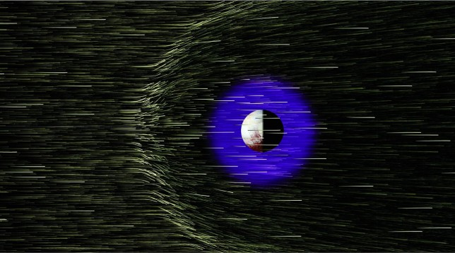Illustration of the interaction between the solar wind and Pluto's extended atmosphere. Image Credit: Steve Bartlett and NASA'S Scientific Visualization Studio