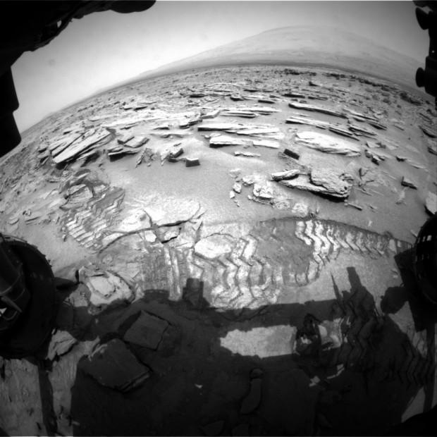 Front Hazcam image of Shaler on sol 313. Credit: NASA / JPL-Caltech