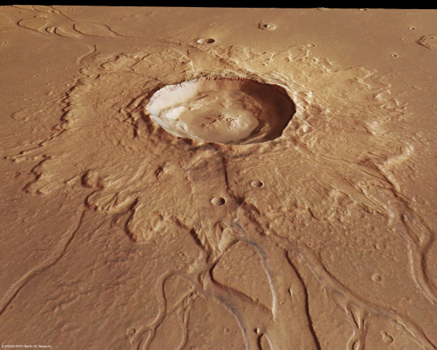 Mars has a lot of impact craters on much of its surface; impact glass in some of those craters may hold clues to past life on the planet. Image Credit: ESA/DLR/FU Berlin (G. Neukum)