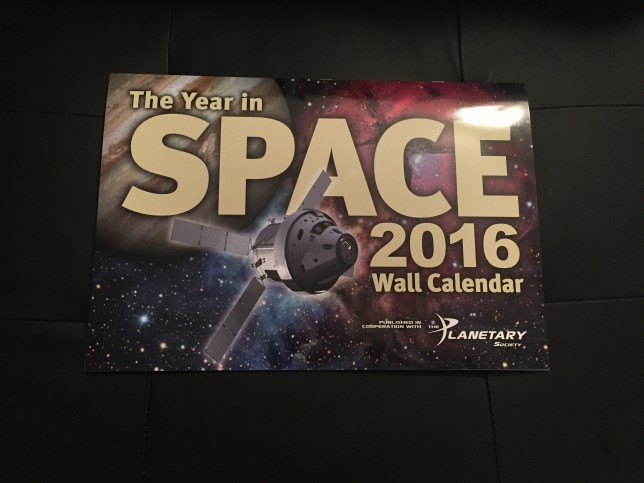 The beautiful new Year in Space calendar for 2016.