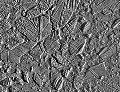 """Chaos terrain"" on Europa, where material such as salt comes up to the surface from the ocean below. Photo Credit: NASA/JPL-Caltech"