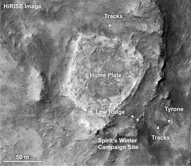 Orbital view of the Home Plate rock outcrop; the soil and rocks nearby show evidence for previous hydrothermal hot springs a long time ago. Image Credit: NASA/JPL-Caltech