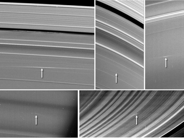 Five images taken by Cassini showing bright streaks in Saturn's rings made by meteor impacts, between 2009 and 2012. Credit: NASA / JPL-Caltech / Space Science Institute