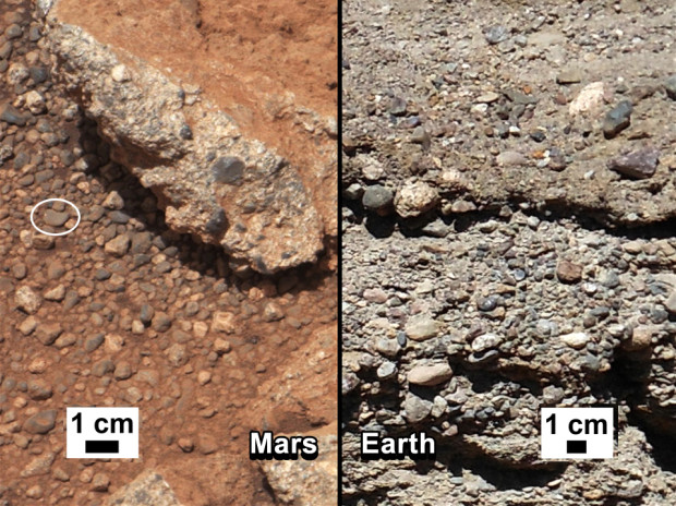 Comparison of conglomerate rock formed by flowing stream water on Earth (right) with similar rock found on Mars by Curiosity (left). Image Credit: NASA/JPL-Caltech/MSSS