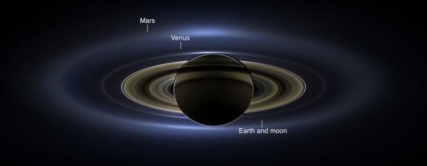 Beautiful panoramic view of Saturn, some of its moons, and even some of the inner planets including Earth, as imaged by Cassini on July 19, 2013 as part of The Day the Earth Smiled event. Image Credit: NASA/JPL-Caltech/SSI