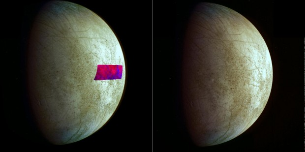 Image showing the location of the clay-type minerals (blue) found on Europa's surface. Credit: NASA/JPL-Caltech/SETI