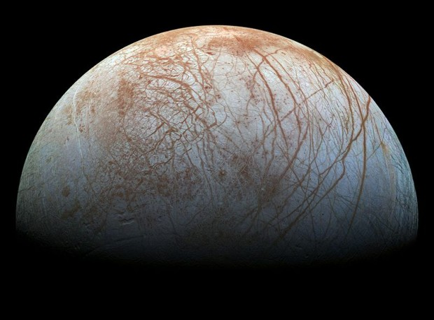 As well as Mars, Europa would be an ideal place to use a Chemical Laptop. A future lander could sample ice and rock on the surface. Image Credit: NASA/JPL-Caltech/SETI Institute