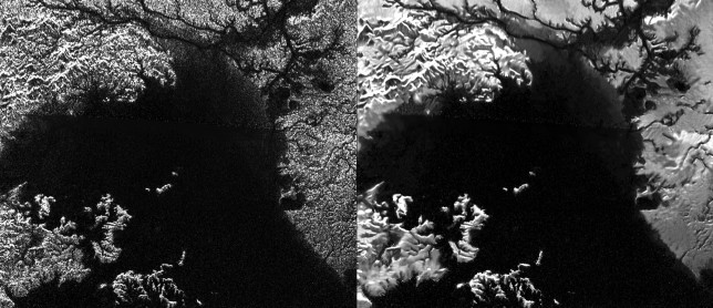 "Radar view of Ligeia Mare, a large hydrocarbon sea on Titan. The original version is on the left and the enhanced, ""despeckled"" version is on the right. Image Credit: NASA/JPL-Caltech/ASI"